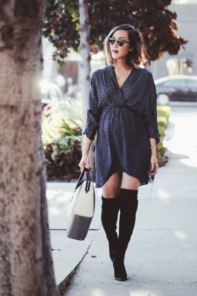 Long-sleeve dress and high boots: http://www.stylemepretty.com/living/2014/12/10/dressing-the-bump-the-business-of-blogging-with-chriselle-lim/ | Photography: Karen Rosalie - http://www.karenrosalie.com/