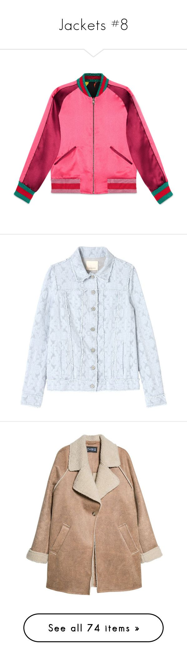 """""""Jackets #8"""" by li-nctzen ❤ liked on Polyvore featuring outerwear, jackets, gucci, tops, pink bomber jackets, floral-print bomber jackets, zipper jacket, zip jacket, reversible bomber jacket and fresh air"""