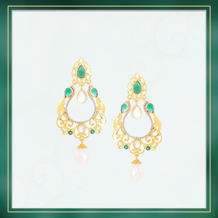 A classically designed Green Onyx Earring from the Chand Bali collection, set into Gold Plated Sterling Silver with Cultured Pearl and White Topaz   Shipping across India