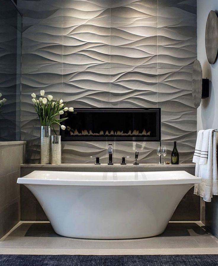 Textural Wall Behind Tub
