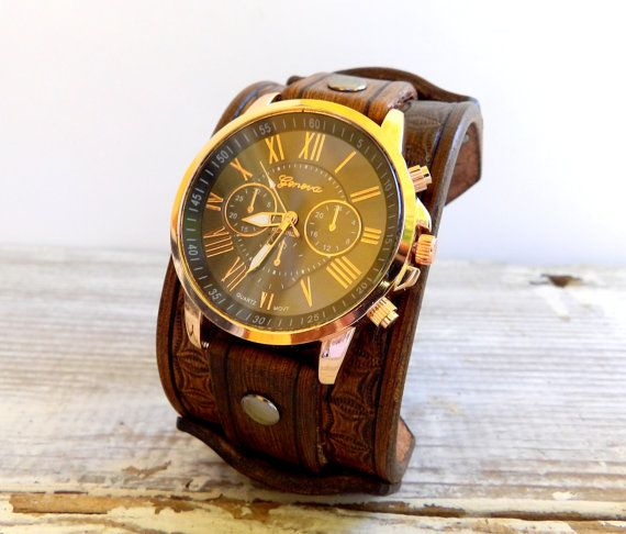 Leather watch for Men's, Brown handstamped watch, Leather wrist watch, cuff watch, Gold leather watch, Dad's gift, Graduation gift