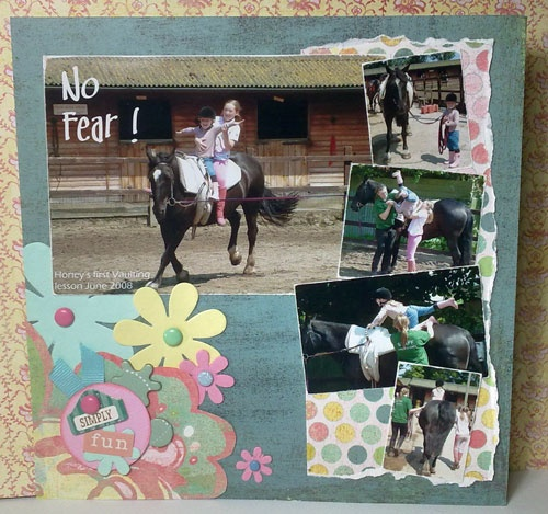 Beautiful turquoise page with flowers and polkadots