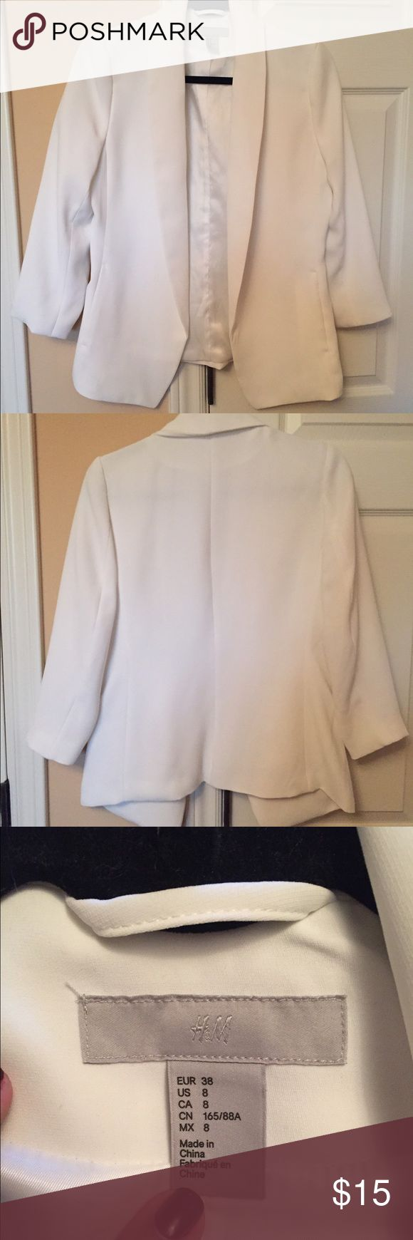 White blazer This white blazer is stunning and pulls together any outfit. It is fitted in all the right places and useable pockets! H&M Jackets & Coats Blazers