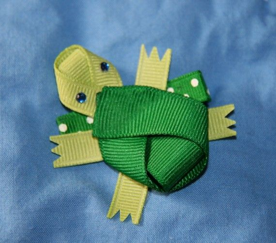 Turtle Ribbon Sculpture Hair Clip by CelticTideCreations on Etsy, $4.75