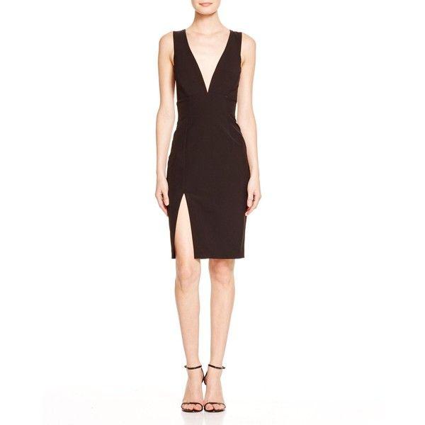 Bardot Deep V-Neck Dress (70.940 CLP) ❤ liked on Polyvore featuring dresses, black, deep v neckline dress, low v neck dress, deep v neck dress, black cocktail dresses and line dress