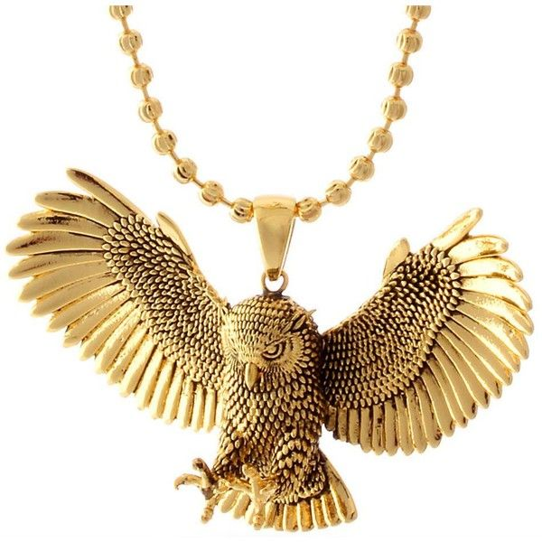 King Ice - Great Horned Owl Necklace (14K Gold Plated) - Hip Hop... (€73) ❤ liked on Polyvore featuring jewelry, necklaces, horn jewelry, 14k gold plated jewelry, owl necklace, king ice and gold plated jewelry