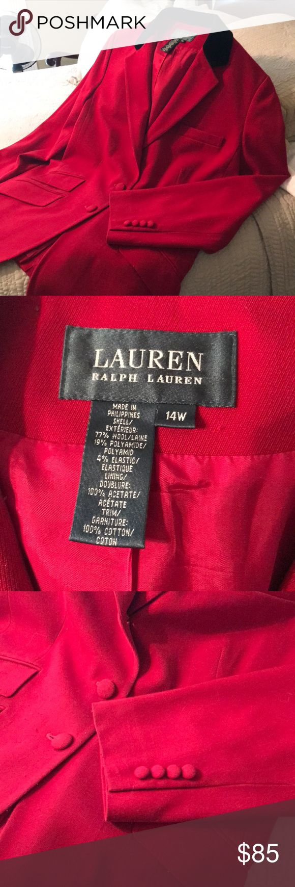 Ralph Lauren Riding Jacket RL beautiful Red with black velvet collar, covered buttons, Breast pocket and  Three side pockets. Just in time for Christmas! In great condition, minimal piling but you can't see when on. Needs dry cleaning, it's been hanging for a year. Only worn during the holidays. Fully Linen- super sharp with black skirt or slacks. A true classic RL riding Blazer.  Make us an offer! Lauren Ralph Lauren Jackets & Coats Blazers