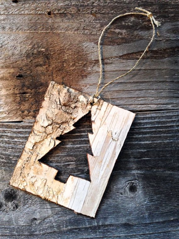 Birch Bark Christmas Tree CutOut Ornament