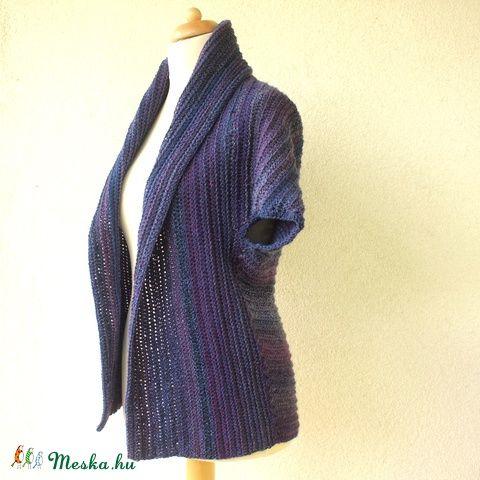 Szilva - kék-lila horgolt mellény kardigán kabátka, Ruha, divat, cipő, Női ruha, Poncsó, Meska
