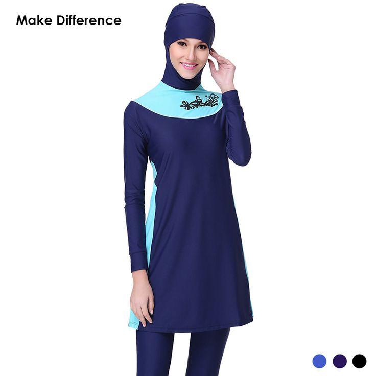 Make Difference Modest Swimsuit for Muslim Women Muslim Swimwear Hajib Islamic Swimsuit Plus Size Girls Women Swimwear Burkinis Islam *** AliExpress Affiliate's Pin.  View the item in details now by clicking the image