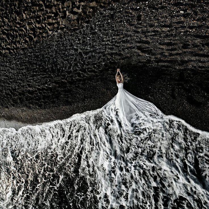 White dress, sea, water