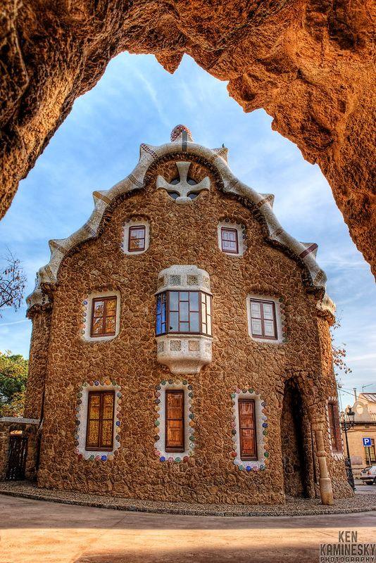 House in Park Güell designed by Antoni Gaudi, Barcelona
