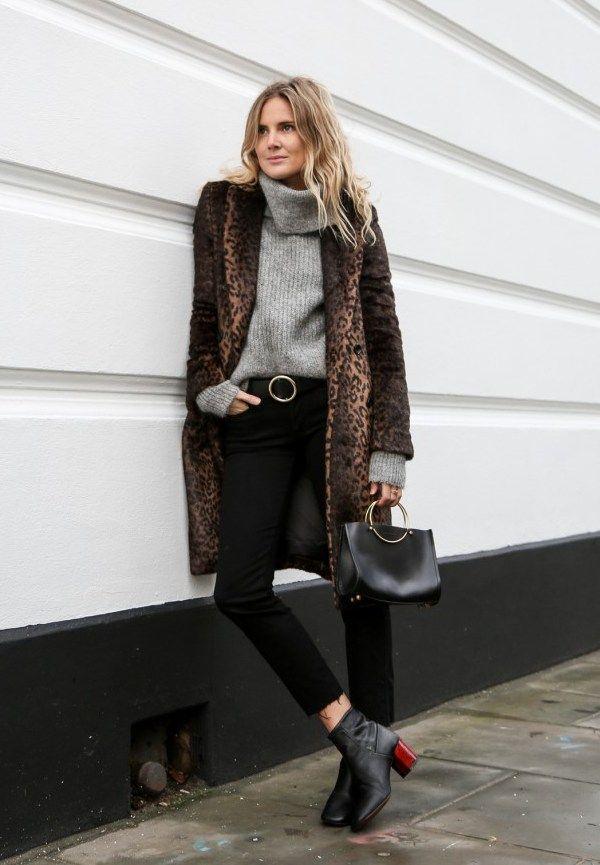 casaco de oncinha com turtleneck cinza deixa o inverno mais sexy