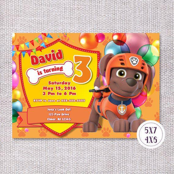 Zuma Paw Patrol Invite, Birthday Party Supplies, DIY Printable Invitation Digital Personalized, Paw Patrol Themed Party, Cartoon Characters