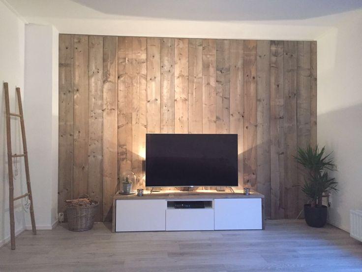 TV wall in 2020 Holzwand wohnzimmer, Tv wand wohnzimmer