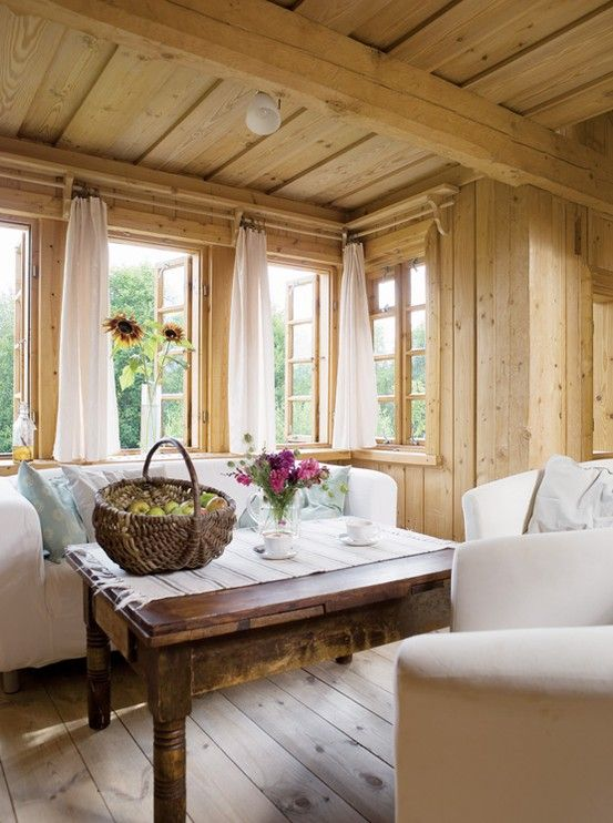 Love The Light Wood And White Slip Covered Furniture And Curtains Very Nice  And Airy Feeling Wooden Cabin Walls White Couches White Curtains