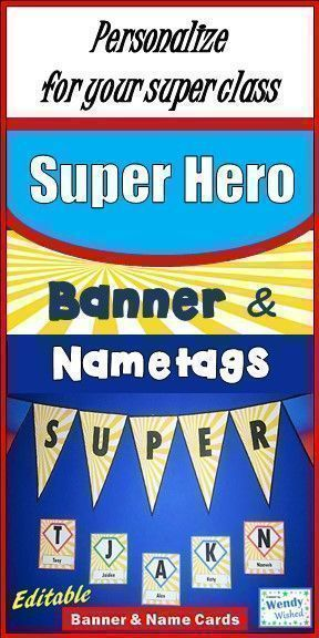 super hero classroom decor editable name logo and banner for back to rh pinterest com