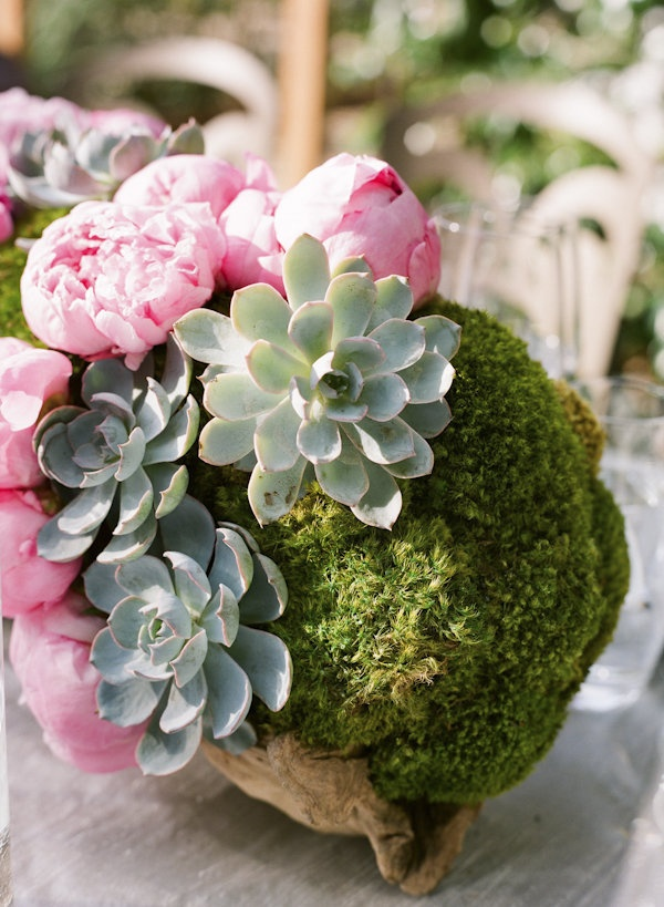 Peonies, succulents, moss, driftwood – this centerpiece has it all  Photography by http://giacanali.com, Wedding Planning by http://yifatoren.com