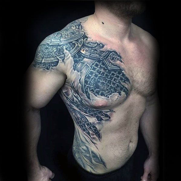 50 Awesome 3d Chest Tattoo Designs Gravetics Cool Shoulder Tattoos Shoulder Armor Tattoo Mens Shoulder Tattoo