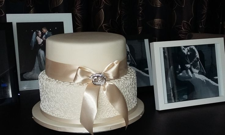 Classic  - 2 tier ivory and white Chantilly Lace Wedding Cake