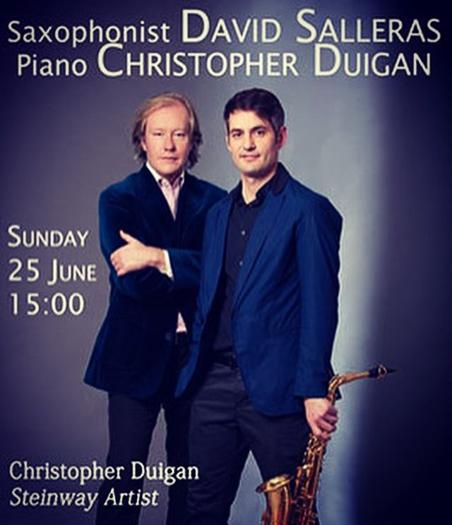 Christopher Duigan (Piano) & Spanish Flamenco saxophonist. David Salleras in concert.  Sun 25 June 15:00 www.brooklyntheatre.co.za 012-460-6033