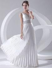 Vestido de noche de satén elástico de color blanco con escote en V y tirantes de línea A hasta el suelo