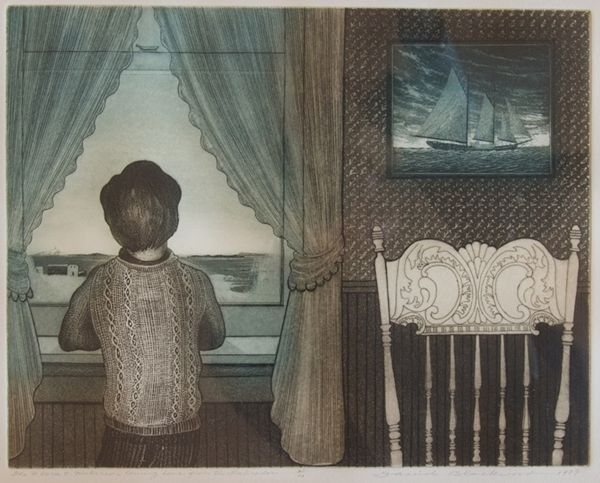 David Blackwood etching, Flora S. Nickerson Home from the Labrador, 1979, 11 X 14 inches