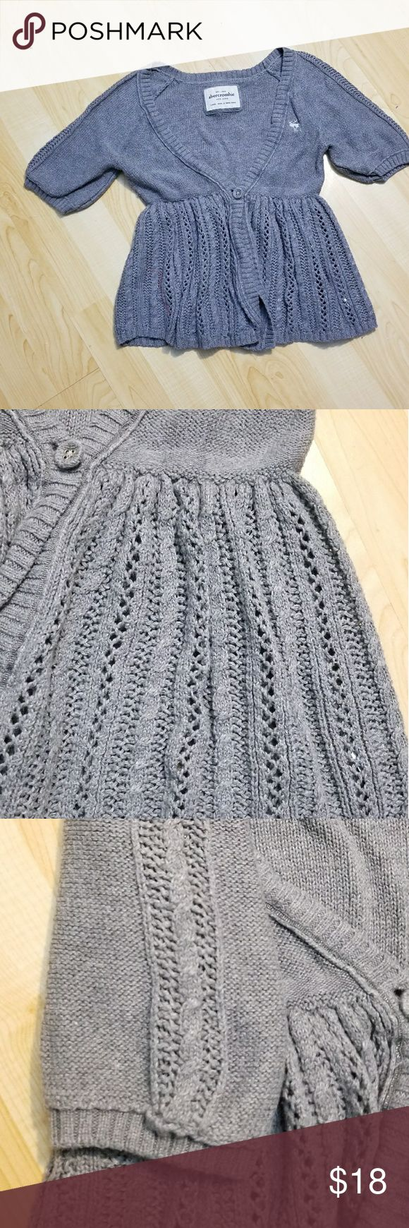 Abercrombie Girls Babydoll Sweater Grey Size L Abercrombie Fitch Sweater Button Cable Knit Short Sleeve Gray 100% Cotton Abercrombie & Fitch Shirts & Tops Sweaters