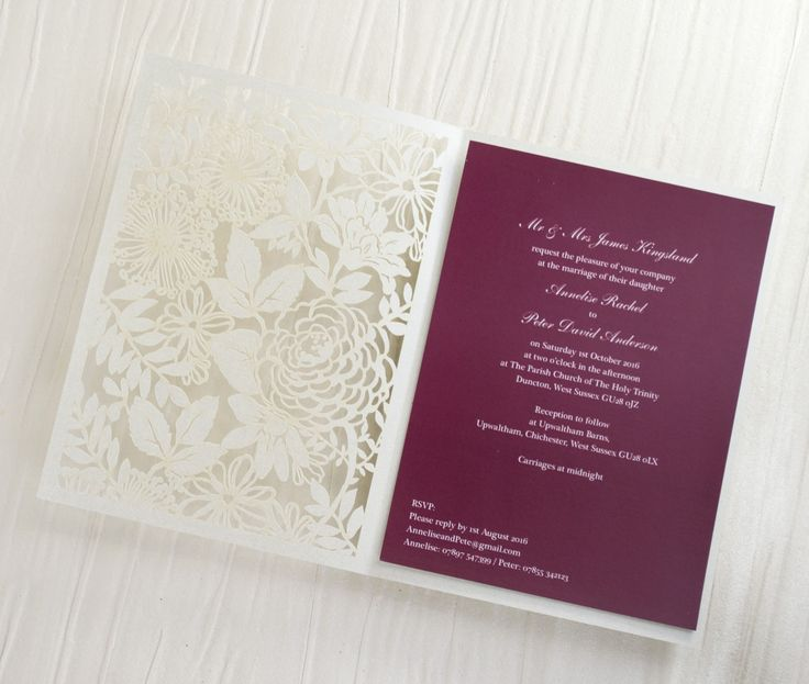 Personalised Floral Lace Laser Cut Wedding Invitations With Plum Inserts