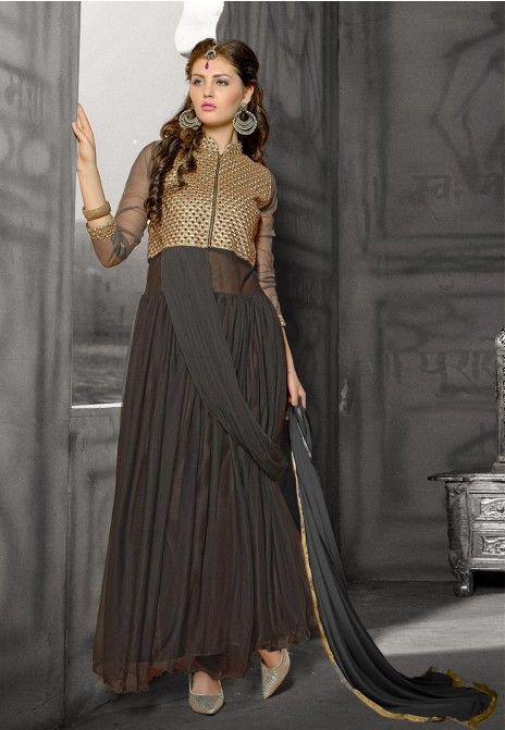 Grey Embroidered Net Anarkali Suit. Top Stitched, Bottom Unstitched.