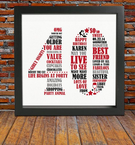 Life begins at 40! So lets celebrate a special birthday by treating your loved one to this uniquely designed personalized word art print. This 40th birthday gift will be valued and treasured in many years to come. Show how much you care by choosing this bespoke FRAMED Personalized design and have it crafted with some of the most beautiful words and meanings. ♥♥ Advantages of choosing a FRAMED Personalized Print Design ♥♥ ► We do all the work for you, so that you dont have to ► No need to ...