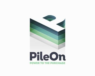 Unused concept for the new Groupon-like brand PileOn by  Daniel Beaton, via logopond