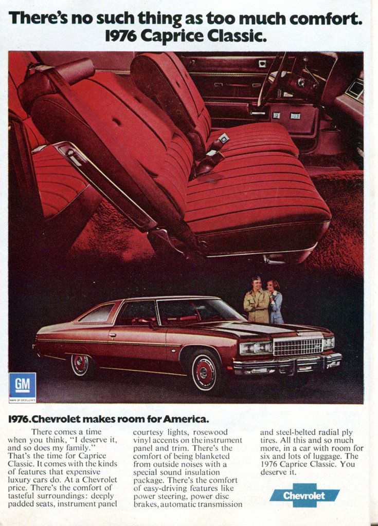 1976 Chevrolet Caprice Classic Advertisement Readers Digest December 1975
