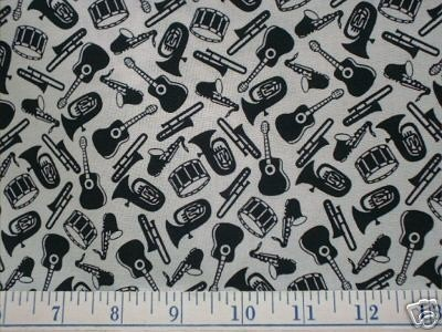 MUSICAL INSTRUMENTS Fabric - Guitar Drums Saxophone Tuba - Marcus BrothersQuilt Fabric