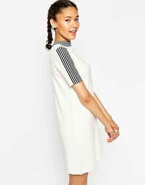ASOS Dress In Structured Knit In Tee Shape With Tipping