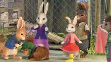 Peter Rabbit and friends celebrate Jemima's new egg.