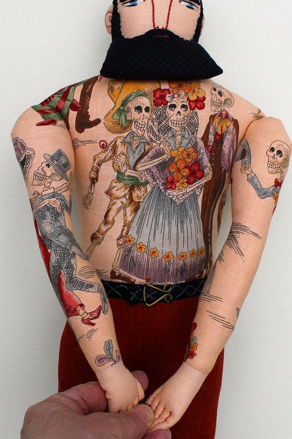 tattooed man with skeleton tattoos by MimiKirchner on Etsy
