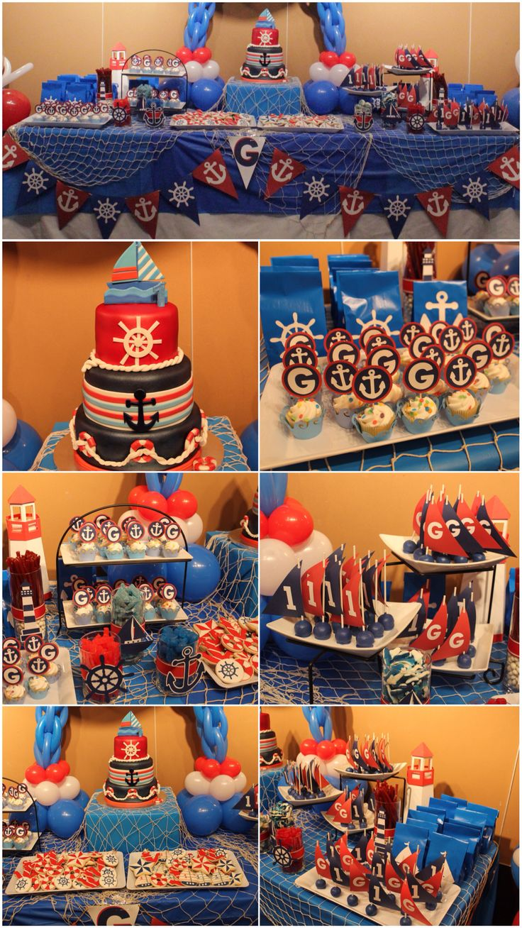Gavin's nautical sailor party. Sailor theme candy bar/sweets table.