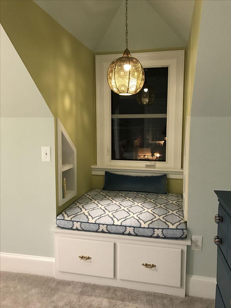 Dormer, window seat, dormer lighting, custom cushion ...