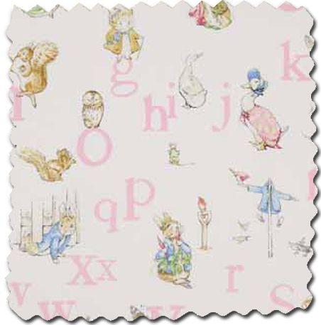 Jane Churchill Alphabet Beatrix Potter Pink Fabric