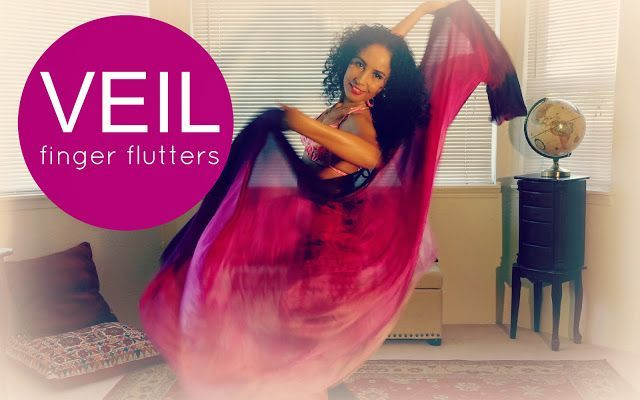 Veil belly dancing: finger flutters ~ Free belly dance classes online
