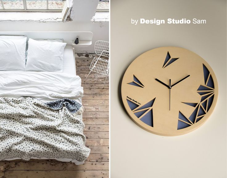 Design Studio Sam II Klok II Houd je van dromerig blauw? Geef de klok met dit blauwe accessoire-vlak dan een mooi plekje in jou slaapkamer. www.designstudiosam.nl