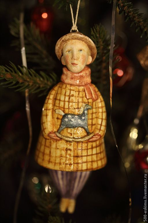 Купить Лошадка-качалка - желтый, елочные игрушки, украшения на елку, Новый Год, лошадка-качалка