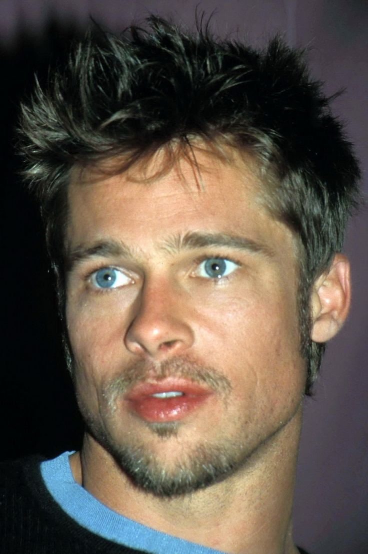 Brad Pitt: straight brown hair and blue eyes... before he started looking homeless