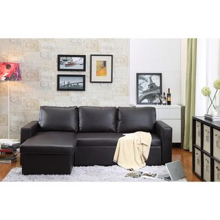 Georgetown Bi Cast Leather 2 Pieces Sectional Sofa Bed With Storage In Brown