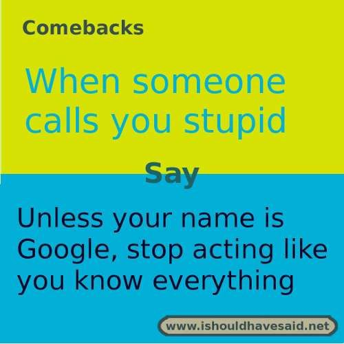 If someone calls you stupid use this comeback. check out our top ten lists www.ishouldhavesaid.net