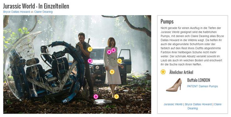 Nicht gerade für einen Ausflug in die Tiefen der #JurassicWorld geeignet sind die halbhohen #Pumps, mit denen sich #ClaireDearing alias #BryceDallasHoward in die Wildnis wagt. Da helfen ihr auch die abgerundete Schuhform oder der farblich auf den Rest ihres Outfits abgestimmte Farbton ihrer hellbeigen Schuhe nicht mehr weiter. Der schmale Absatz versinkt sowohl im Laub als auch im weichen Boden und erschwert ihr die Suche nach ihren Neffen.