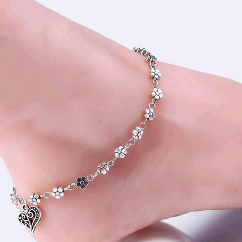 Anklet - Tibetan Silver Hollow Plum Flowers Heart-Shaped Anklet