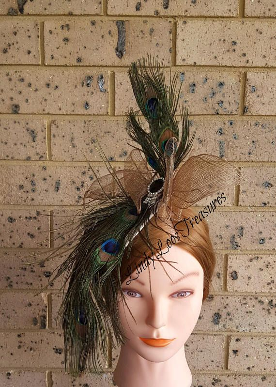 Peacock Feather Rhinestone Sinamay Fascinator Hat Sinamy