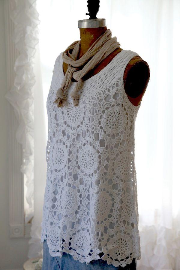 Lenceria De Baño Tejida A Crochet:White Crochet Tunic Sweater